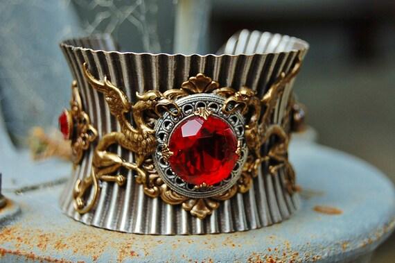 HANDMADE DRAGON CUFF- Bracelet- Red Jewel Dragon