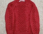Handknitted jumper with blackberry stitch front and sleeve, to order,  forGemma knitted in rust acrylic yarn