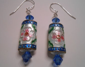 Asain Cloisonne Pierced Earrings