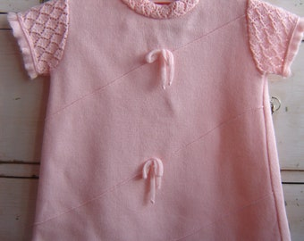 Little Girl Baby Vintage Dress Pink Stretch Knit