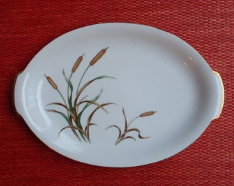 Vintage Sango China September Song Oval Serving Platter, Fall Autumn Cattail Pattern