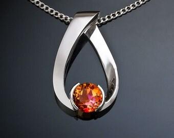mystic topaz necklace, silver necklace, Argentium silver, sunrise mystic topaz, modern jewelry, artisan necklace - 3470