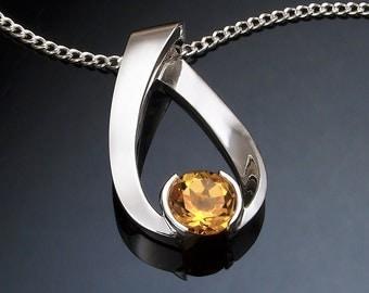 citrine necklace, November birthstone, gemstone jewelry, Argentium silver, eco-friendly, modern necklace, citrine pendant, for her - 3470