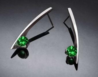 green topaz earrings, silver earrings, Argentium silver, eco-friendly, dangle earrings, modern earrings, for her - 2458