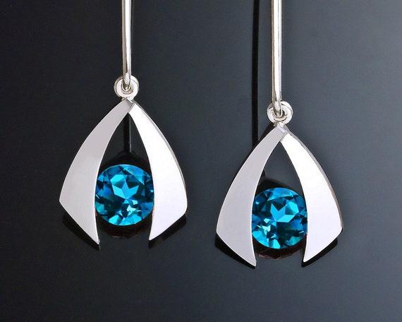 blue topaz earrings, Swiss blue topaz earrings, silver earrings, wedding earrings, December birthstone, dangle earrings, eco-friendly - 2424