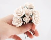 9 Wedding Hair Pins - Ivory Cream Roses, Wedding Hair Flowers, Bridal Hair Pins