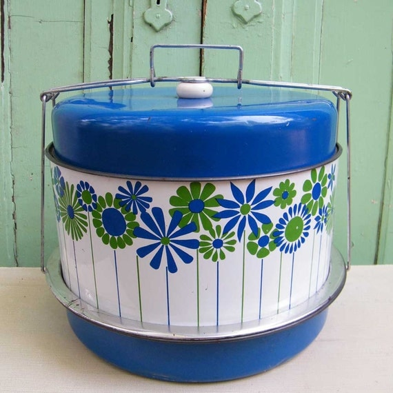 Vintage Cake and Pie Carrier Triple Decker in Blue Mod Print