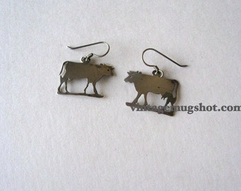 Vintage Sterling Cow  Earrings with loop  For pierced ears  1 1/8""