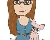 Cute custom portrait illustration. (Digital file only)