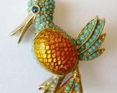 Vintage 50s 60s Signed CINER Designer Gold Enamel Turquoise Bead Rhinestone Duck Bird Brooch Pin