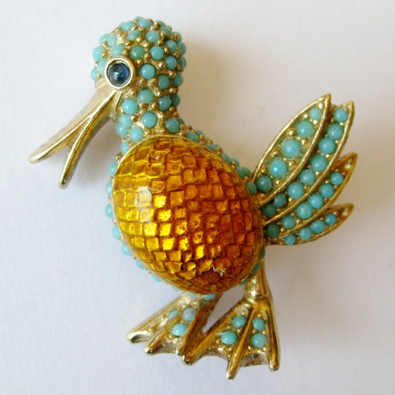 Vintage 50s 60s Signed CINER Designer Gold Enamel Turquoise Bead Rhinestone Duck Bird Brooch Pin