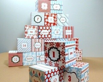 Advent Calendar, Printable Christmas Calendar, Christmas Countdown, DIY Advent Calendar, Box Template