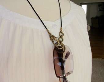 Eyeglasses Holder, LoopM, Antiqued Brass Loop, Chain, Clasp, Crimps on Black Leather  Neck Cord, Readers Keepers, 24 inches