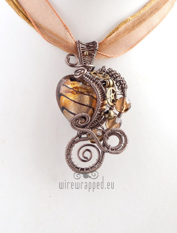 OOAK gold brown steampunk heart wire wrapped pendant