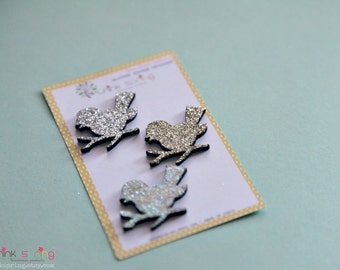 Little Glitter Wooden Birds