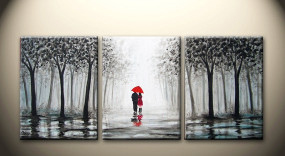 large original abstract painting, walking in the rain,love couple,black white and red,36x16 inch,on stretched canvas,wedding gift