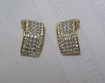 Vintage Rhinestone...Dressy..Curved Clip Earrings