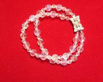Vintage Aurora borealis Crystal Double Row Rhinestone Enhanced Clasp Bracelet