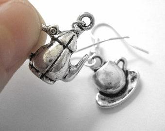 Sterling Silver Tea Jewelry - Tea Pot Earrings - Tea Earrings - Teacup Jewelry 203 204