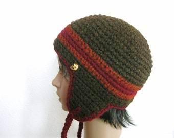 Ear Flap Beanie Crocheted in Brown, Pumpkin and Burgundy with Skull Bead - Retro Unisex Beanie - Ear Flap Hat - Crochet Earflap Beanie