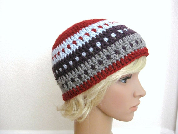 Crocheted Beanie in Red, Gray, Blue and Eggplant - Unisex Beanie - Womens Beanie - Mens Beanie - Crochet Red Beanie - Striped Beanie