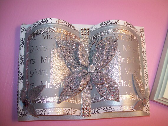 Mr & Mrs Wedding Guest Book-Beautiful in Silver and White with Butterfly and Bling