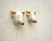 Two wooden pigs , wall hanging ,trophy, sculpture, portrait