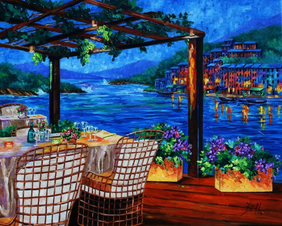 ORIGINAL Oil Painting Peaceful Evening Reflections Italy Ocean Houses Landscape Cafe Contemporary art on Canvas