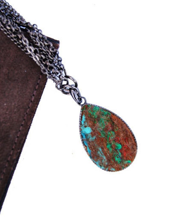 Elena's Felted Jewelry - Multicolour Blue Green Red Brown Drop Shaped Pendant