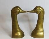 Pair Mid Century Duck Brass Book Ends