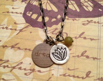 Hill Tribe Fine Silver Lotus Flower Charm with DREAM Brass Stamped Charm