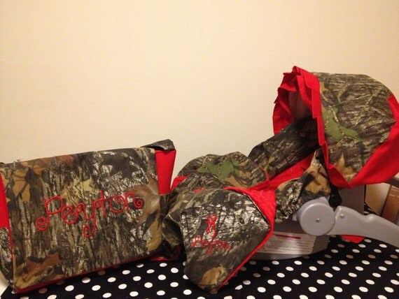 3 Piece Set Mossy Oak Camo Fabric Infant Car Seat Cover And