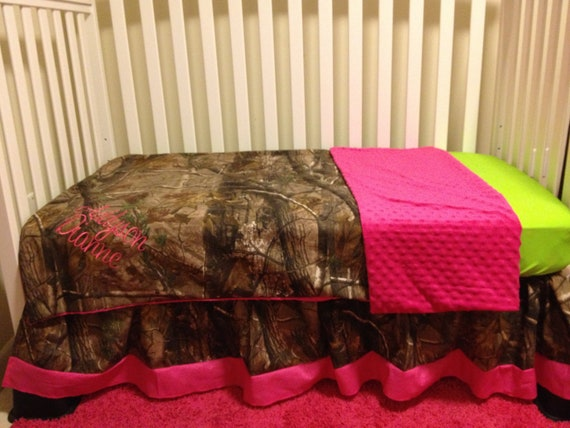 Camo RealTree With Lime & Pink Baby Crib Bedding Set With