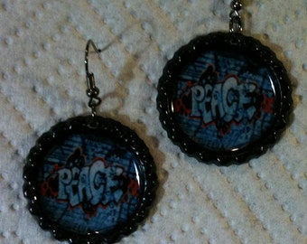 Peace Graffiti Bottle Cap Earrings