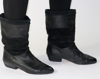 Radical Leather and Suede Slouch Boots - Sz 7.5 (US)
