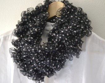 Ruffle Scarf, knit black scarf for women, scarf white polka dots
