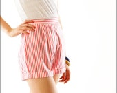 Pink Candy Striper Mid Century Kitschy Pin Up Shorts--XS/S