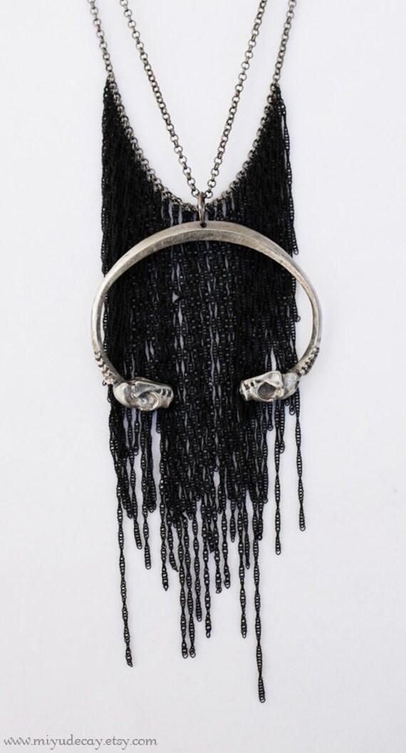 Black Fringe Crescent Tuareg Bat Skull Necklace
