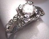 Antique Diamond Wedding Ring Art Deco Vintage White Gold