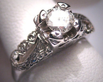 Antique Diamond Wedding Ring Art Deco Vintage White Gold