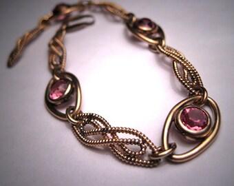 Vintage Pink Sapphire Bracelet Antique Art Deco 1920