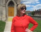 1960s A-line Dress - Blood Orange Woven Poly