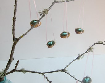 BLUE - Set of 7 Bird Nest Ornaments - Baby Shower - Spring Decoration - Tabletop Display