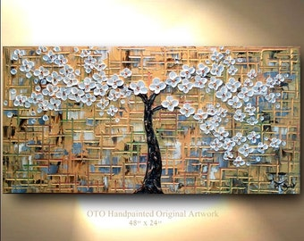 """Made to Order 72"""" Original Paintings Hand painted Flower Tree Painting White blossom Abstract Landscape Artwork Thick Textured art by OTO"""