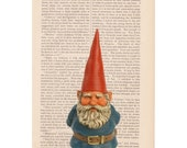 christmas decorations - Lawn Gnome Elf - print on dictionary