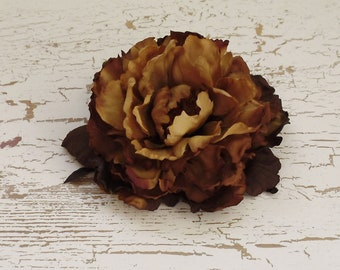 Silk Flower - One Fabulous Jumbo Peony in Rich Brown Tones - 6 Inches - Artificial Flowers