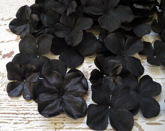 Silk Flowers - 50 Jumbo Hydrangea Blossoms in BLACK- Artificial Flowers