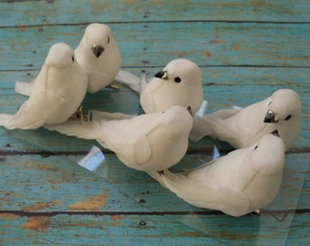 Artificial Birds - SIX Decorative WHITE Birds On CLIPS - Craft Embellishment - Home Decor, Christmas Decorations