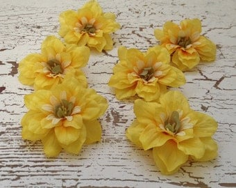 Silk Flowers - SIX Yellow Delphinium Blossoms - 2.5 Inches - Artificial Flowers