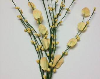 Artificial Flowers - YELLOW Pip Berry Spray with Paper Flowers - Wedding Crowns, Head Wreaths
